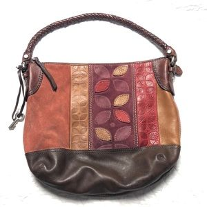 Fossil large leather and suede floral pattern hobo